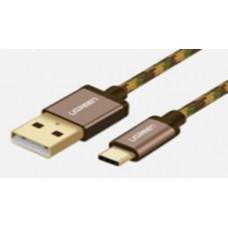 Cáp bện sạc và truyền dữ liệu USB 2.0 ra Tyec C model US250 Brown 0.5M Ugreen 40428
