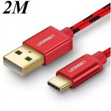 Cáp bện sạc và truyền dữ liệu USB 2.0 ra Tyec C model US250 đỏ 1M Ugreen 40484