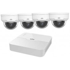 Bộ Kit Dome Camera ( Gồm 1 Đầu Ghi 4 Kênh POE + 04 Camera Ip Dome 2.0Mp ) Uniview KIT/301-04LB-P4/4*IPC322LR3-VSPF28-D