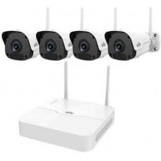 Bộ Kit Wifi Trụ Camera ( Gồm 1 Đầu Ghi 4 Kênh Wifi + 04 Camera Ip Trụ 2.0Mp Wifi ) Uniview KIT/301-04LB-W/4*2122ER3-F40W-D